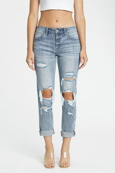 Girlfriend Fit Light/Medium Wash LOW RISE Relaxed Fit  Destroyed Knee Rolled Cuff Jeans