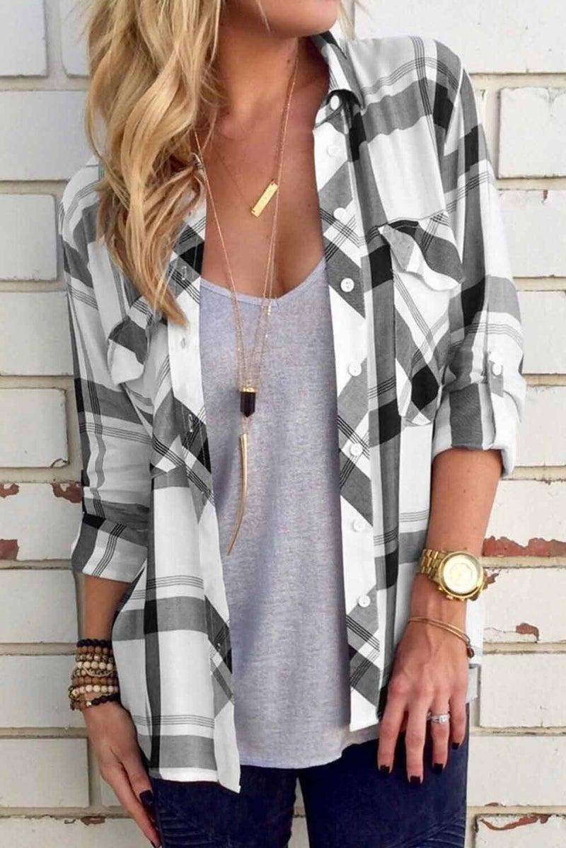 Black & White Plaid Curved Hem Pocket Tab Sleeve Button Down Oxford Shirt