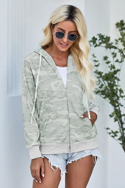 Camo Full Zip Pocket Hoodie Jacket