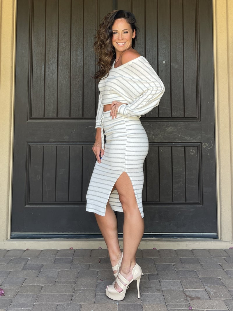 Ivory & Grey Stripe Bruched Hacci Knit Lounge Top and Skirt Set