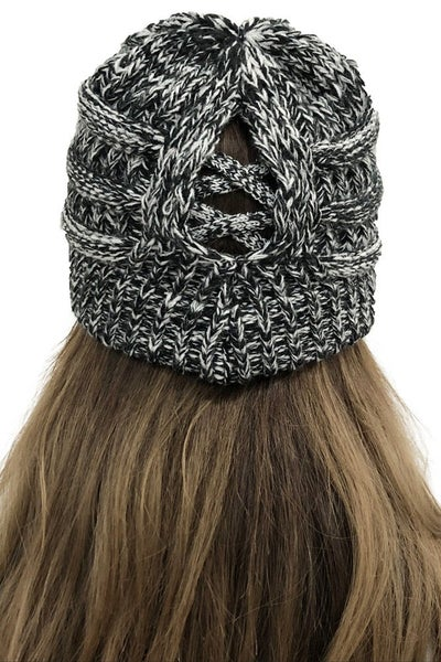Black & White Criss Cross Pony Tail Back Warm Knit Beanie