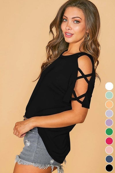 Black Strappy Shoulder Short Sleeve Jersey Knit Tee