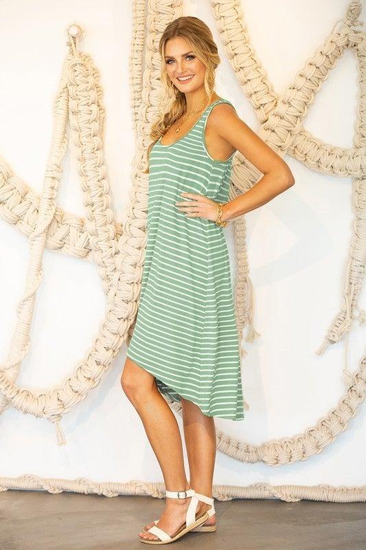 Flowy Soft Striped Hi-Low Sleeveless Summer Dress