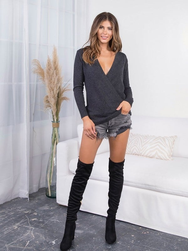 Charcoal Plunging V Neck Wrap Front Super Soft Tunic Sweater