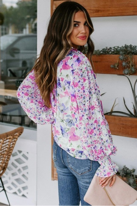 Floral Smocked Button Detail Bubble Sleeve Blouse