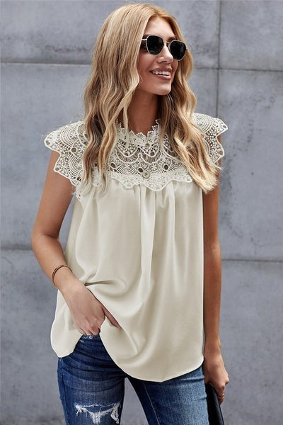 Cream Crochet Lace Trim Mock Neck Chiffon Blouse