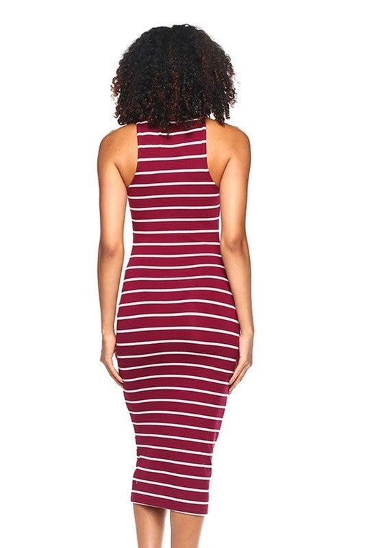 Burgundy & White Stripe  Mock Neck Sleeveless Fitted Midi Length Dress