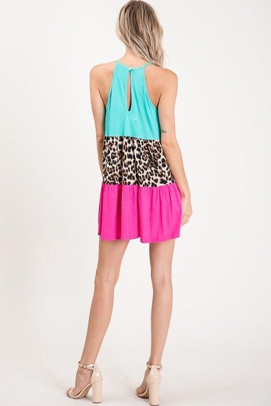 Teal Leopard Magenta Lace Colorblock Tank