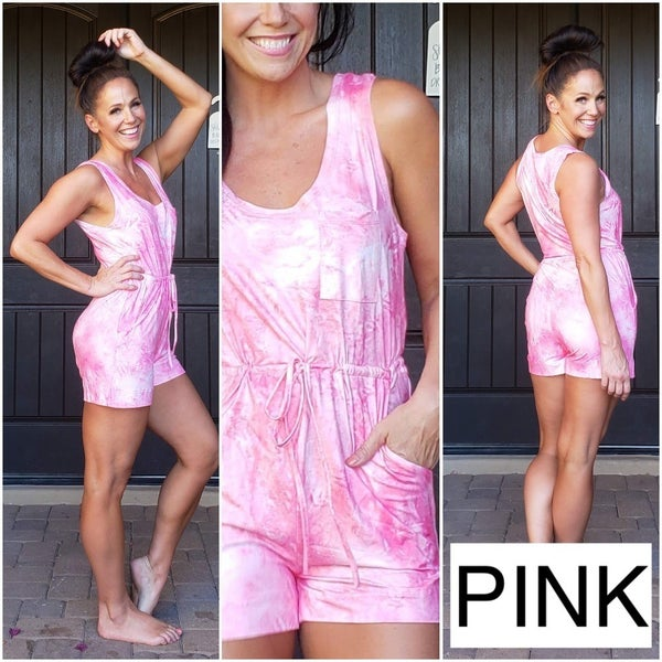 Tie Dye Scoop Neck High drawstring waist Buttery Soft Romper
