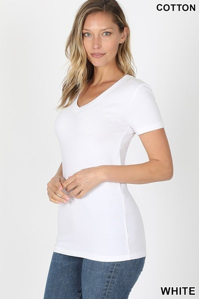 White Basic V-Neck Fitted Tee