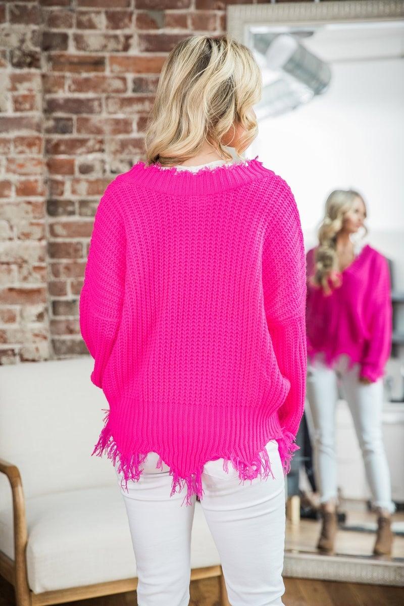 Neon Pink Frayed V-Neck & Hem Sweater