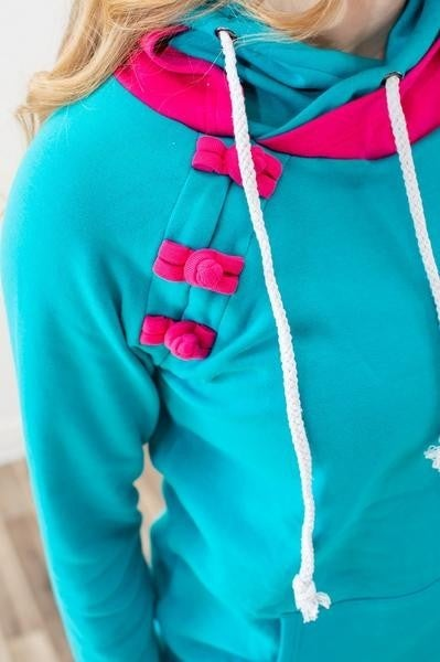 Teal & Magenta Ultra Stretchy & Soft Medium Weight Double Hoodie