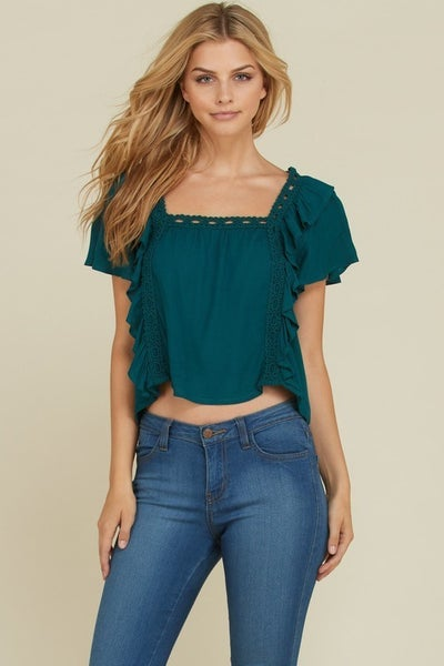 Evergreen Flutter Sleeve Ruffled Detail Cropped Blouse