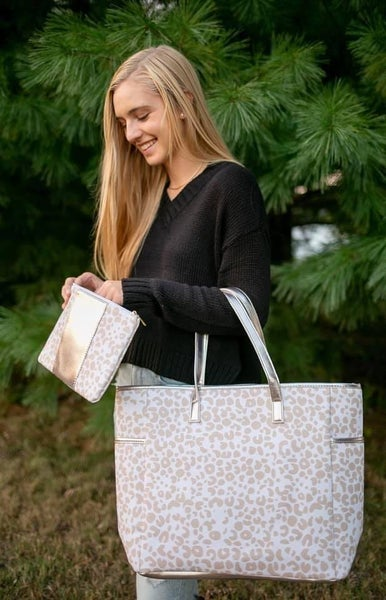 Neutral Leopard Tote Bag and Wristlet Set