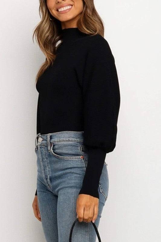 Mock Neck Balloon Sleeve Fitted Sweater