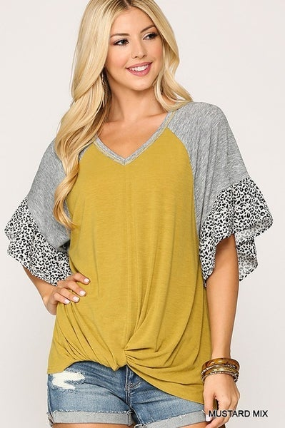 Mixed Mustard Leopard Ruffle Sleeve Oversized Twisted Top