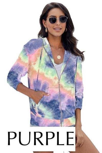 Tie Dye Pocket Zip Up Hoodie