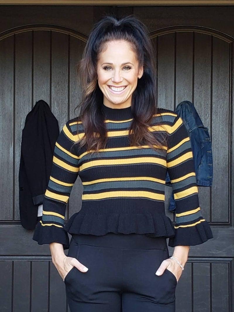 Black & Mustard Stripe Ruffled Bell Sleeve Mock Neck Ruffled Hem Knit Sweater