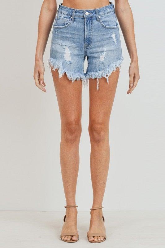Light  Wash High Waist Frayed Hem Denim Shorts