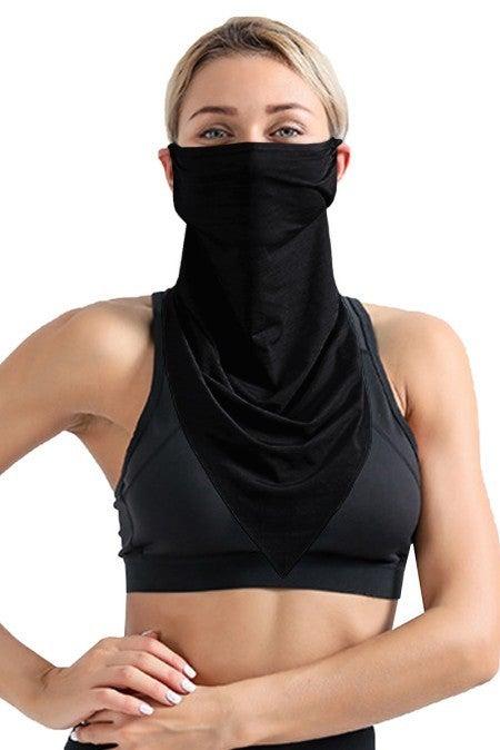 Black Unisex Ear Loop Triangle Face Bandana Neck Gaiter Mask