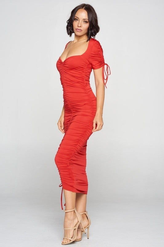 Red Sweetheart Neck Drawstring Ruched Adjustable Midi Dress