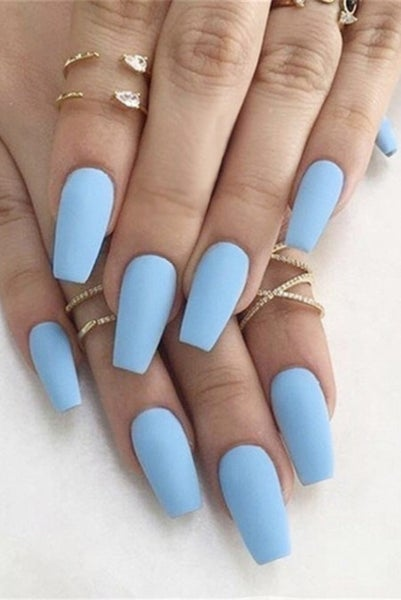 Periwinkle Blue Coffin Shape Press On Nails