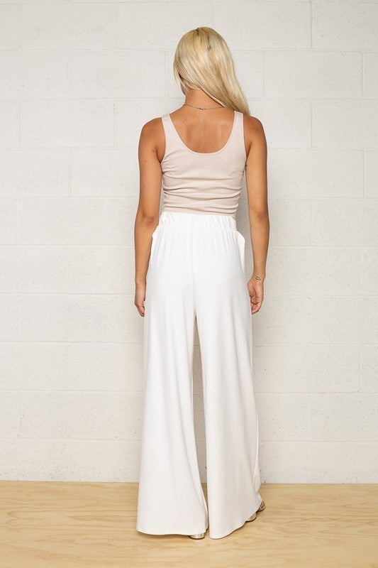White Wide Leg Jersey Knit Palazzo Pants