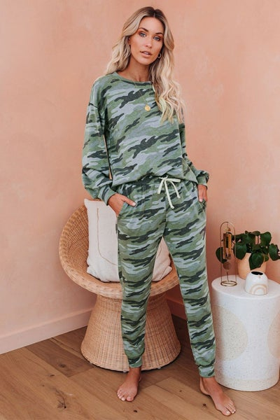 Green Camo Drop Shoulder Drawstring Lounge Set