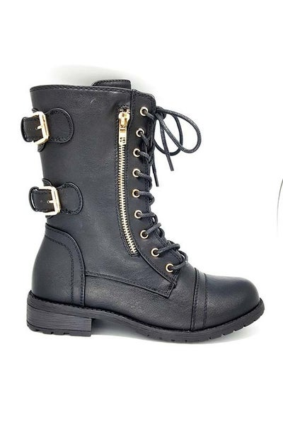 Black Lace Up Gold Zipper & Double Buckle Combat Boots