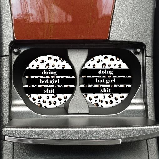 GIRL POWER Sandstone Set of 2 Car Coasters