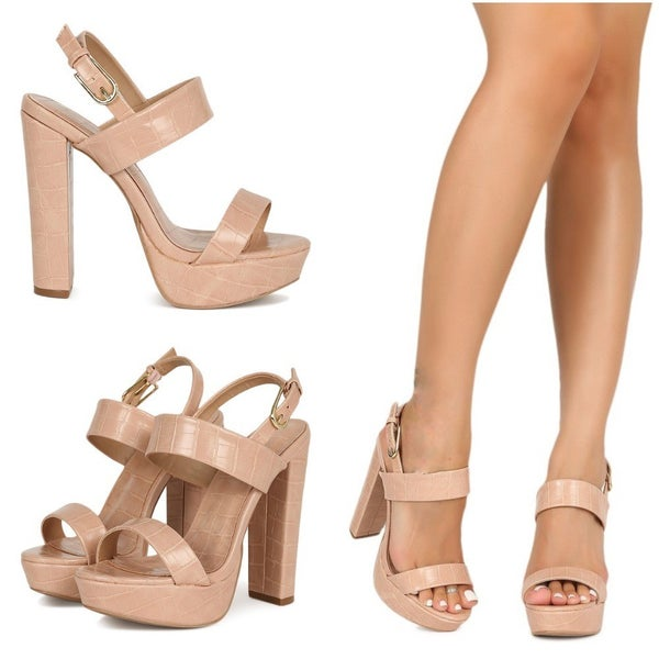 """Nude Strappy 5"""" Platform Buckle Strap Chunky Heels"""