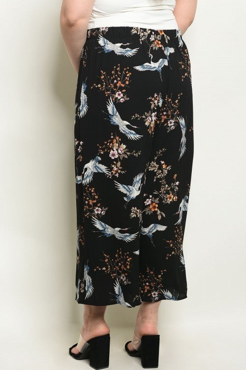 CURVY PLUS Black Floral & Bird Wide Leg Trousers *Final Sale*