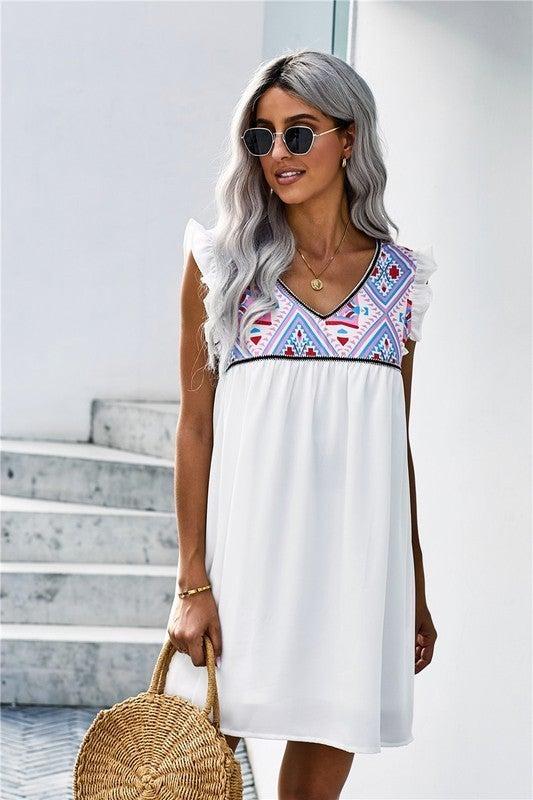 White BOHO Flutter Sleeveless Babydoll Dress