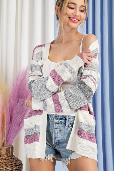 Pink Grey & Ivory Striped Open Front Knit Cardiganwith POCKETS