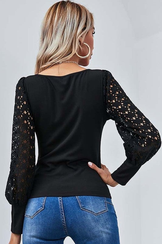 Black Sweet & Chic Lace Bubble Sleeve Blouse
