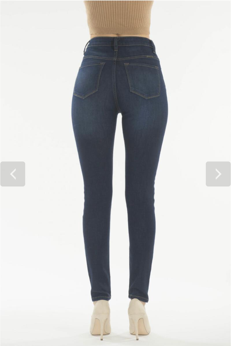 Dark Wash KanCan Ultra High Waisted Slim Fit Plain Front Jegging Jeans