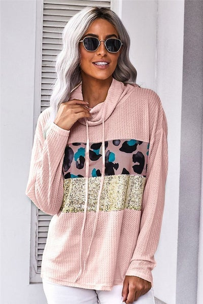 Pink Leopard Sequin Waffle Knit Slouchy Turtleneck Pullover