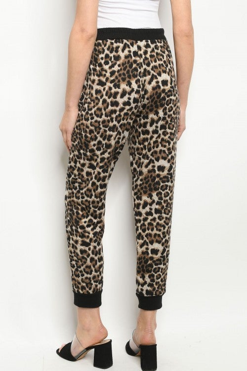 Leopard Tie Waist Joggers with POCKETS