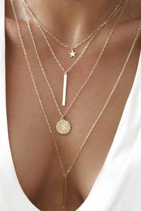 Gold Tiered Star Pendant Necklace