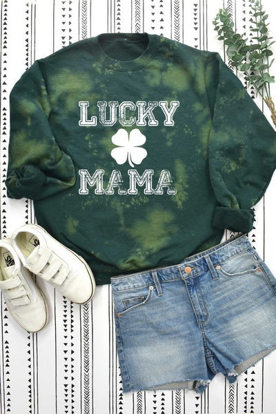 Green Bleach Splashed LUCK MAMA Sweatshirt