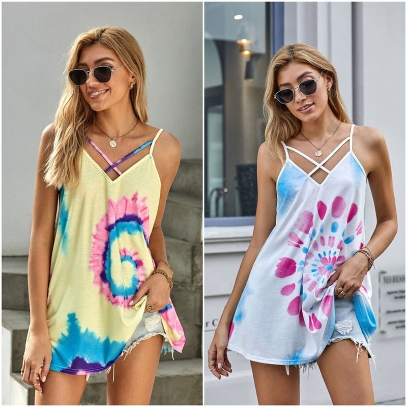 Tie Dye Strappy V Neck Relaxed Fit Tank
