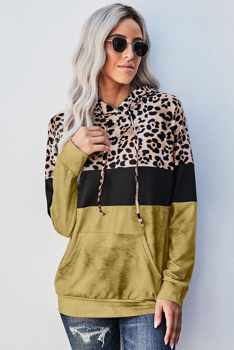 Colorblock Leopard Hoodie