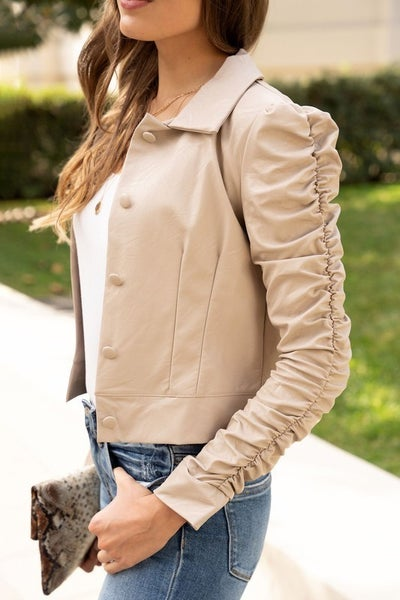 Beige Faux Leather Ruched Long Sleeve Jacket