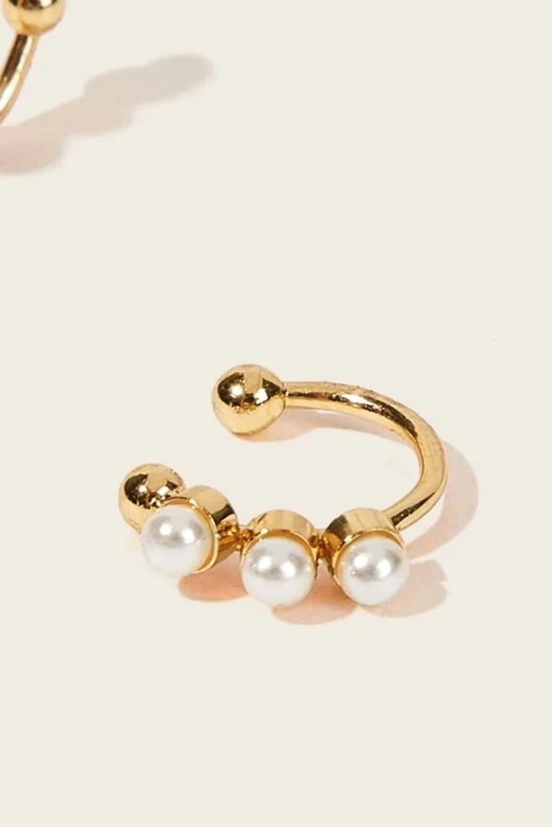 2 Piece Faux Pearl Gold Ear Clips