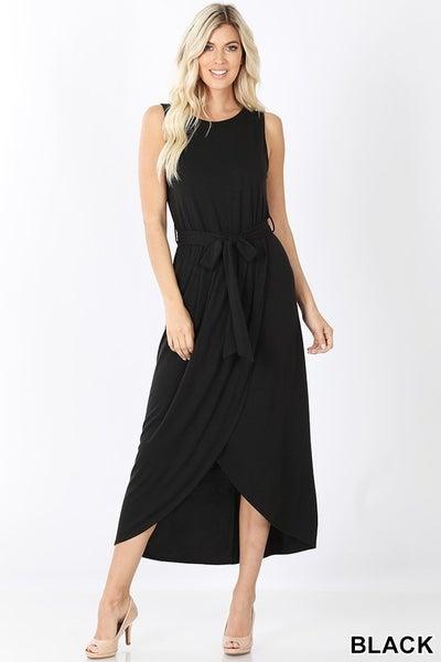 Black Belted Sleeveless Tulip Dress