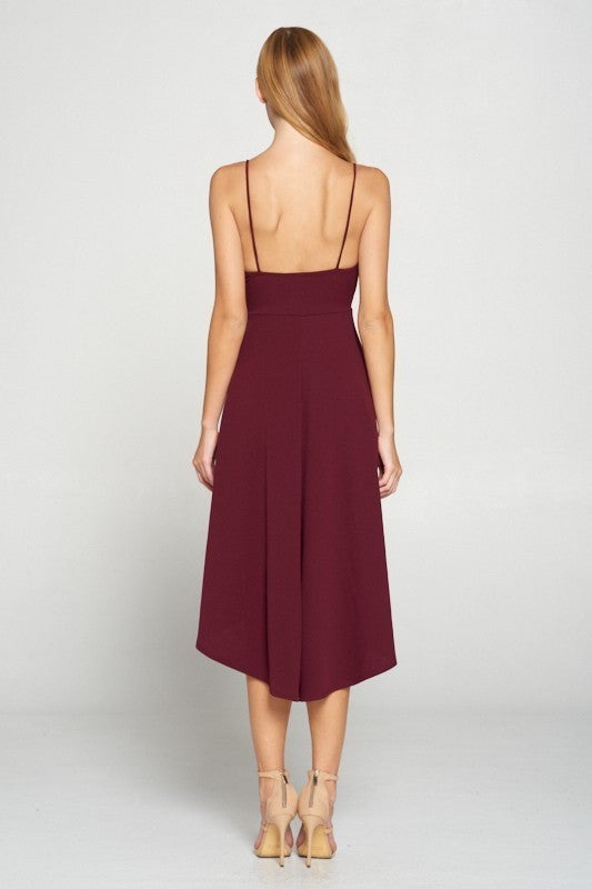 Burgundy Techno Crepe Spaghetti Strap Pleated Front High-Low Dress