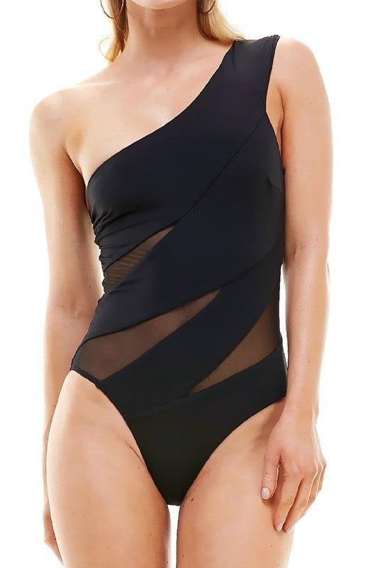 Mesh One Shoulder One Piece Swimsuit