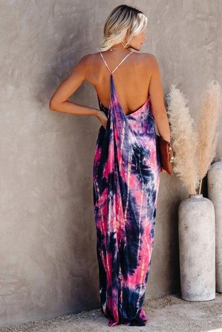 Tie Dye Drapped Back Maxi Dress