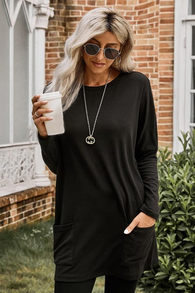 Longline Square Pocket Dolman Sleeve Top