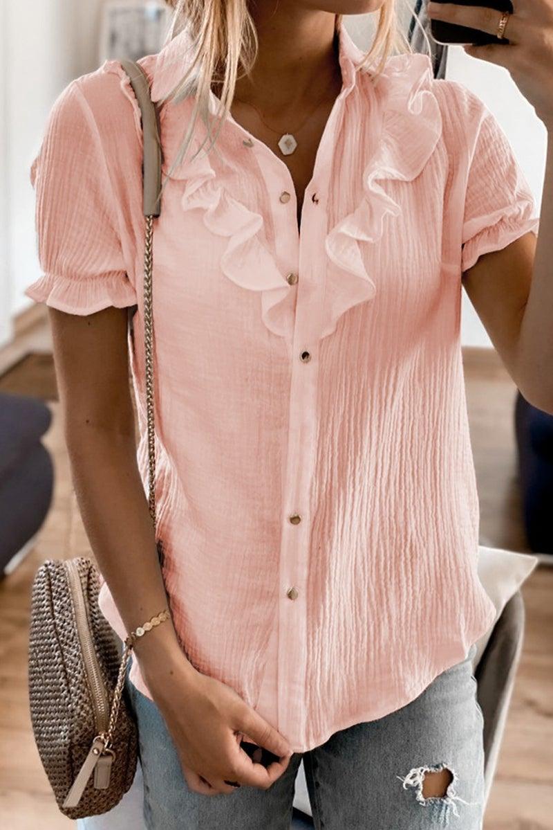 Short Sleeve Ruffled Button Down Shirt